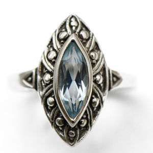 Jewelry - Vintage Blue Marquise Stone Ring in Silver